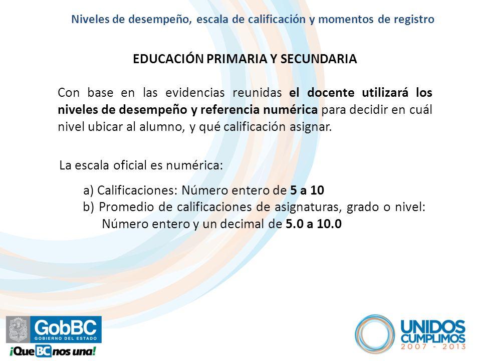Artículo 8º Niveles de desempeño y escala de calificaciones NIVELES DE DESEMPEÑO Y ESCALA DE CALIFICACIONES EN EDUCACIÓN PRIMARIA Y SECUNDARIA NIVEL DE DESEMPEÑO COLABORACIÓN REQUERIDA POR PARTE DE LA FAMILIA, DOCENTES Y DIRECTIVOS REFERENCIA NUMÉRICA A: Muestra un desempeño destacado en los aprendizajes que se esperan en el bloque.