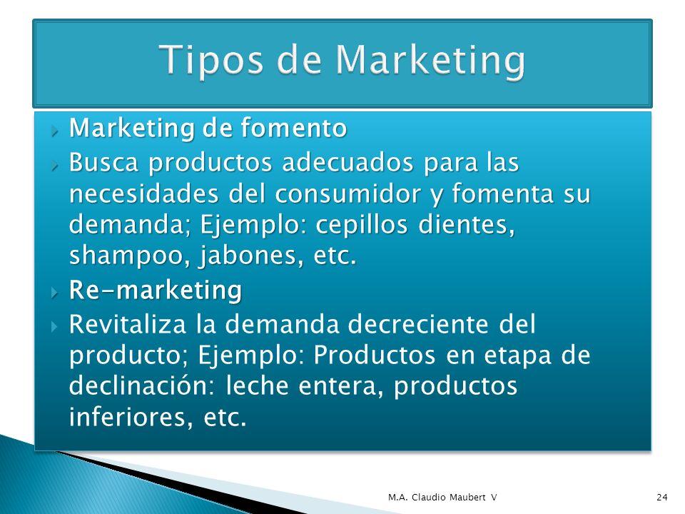 Marketing sincronizada Marketing sincronizada Regulariza la demanda para que la organización pueda planear adecuadamente sus volúmenes de producción; Ejemplo: productos industriales: boiler, ladrillos, etc.