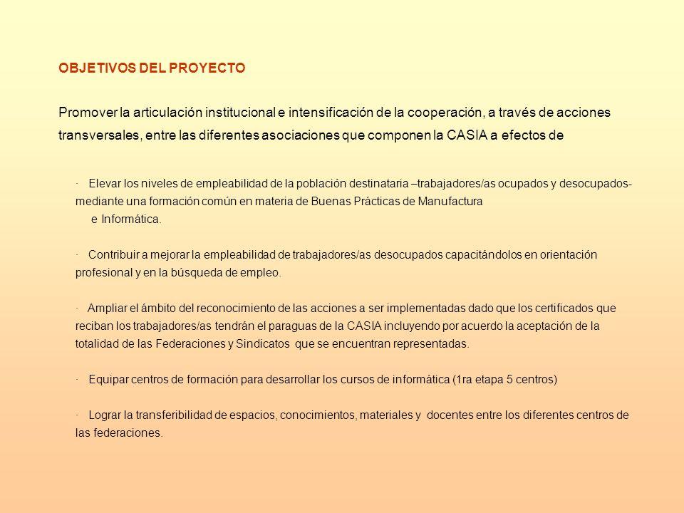 INSTITUCIONES DE FORMACIÓN PROTAGONISTAS EN EL PROYECTO Los centros de las entidades sindicales que constituyen CASIA y que se fortalecen a través de la compra de equipamiento y los centros ya existentes en la provincias elegidas para esta primera etapa.
