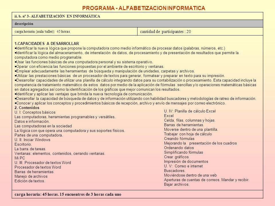 PROGRAMA – ORIENTACION LABORAL ii.b.