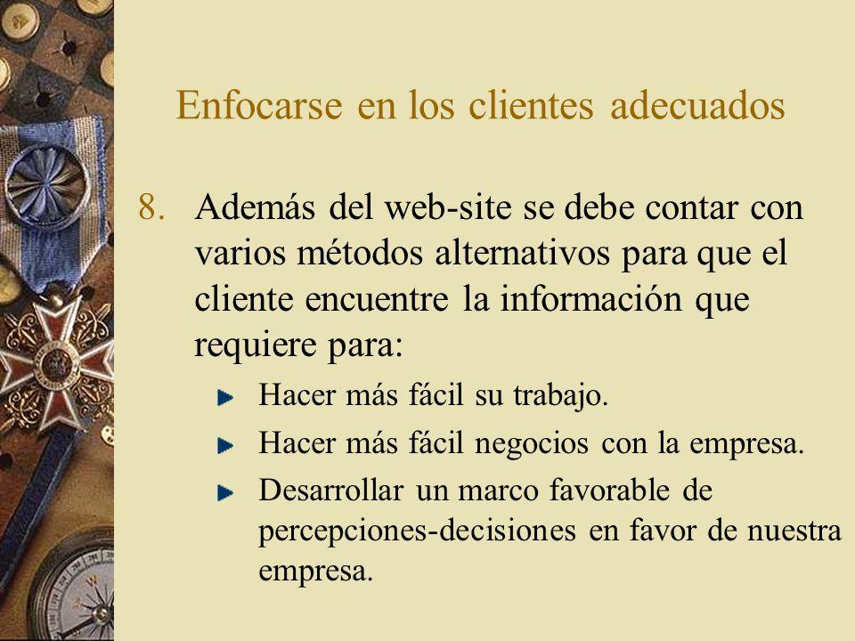 Enfocarse en los clientes adecuados 9.Dar seguimiento completo y expedito a los correos electrónicos recibidos de los visitantes y clientes.