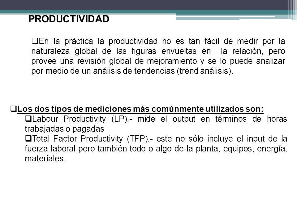 Los dos tipos de mediciones más comúnmente utilizados son: Labour Productivity (LP).- mide el output en términos de horas trabajadas o pagadas Total Factor Productivity (TFP).- este no sólo incluye el input de la fuerza laboral pero también todo o algo de la planta, equipos, energía, materiales.
