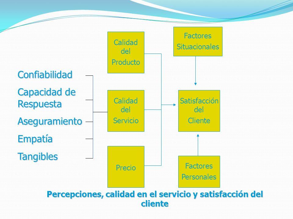 Calidad del Servicio Calidad del Producto Precio Factores Situacionales Satisfacción del Cliente Factores Personales Percepciones, calidad en el servicio y satisfacción del cliente Confiabilidad Capacidad de Respuesta AseguramientoEmpatíaTangibles