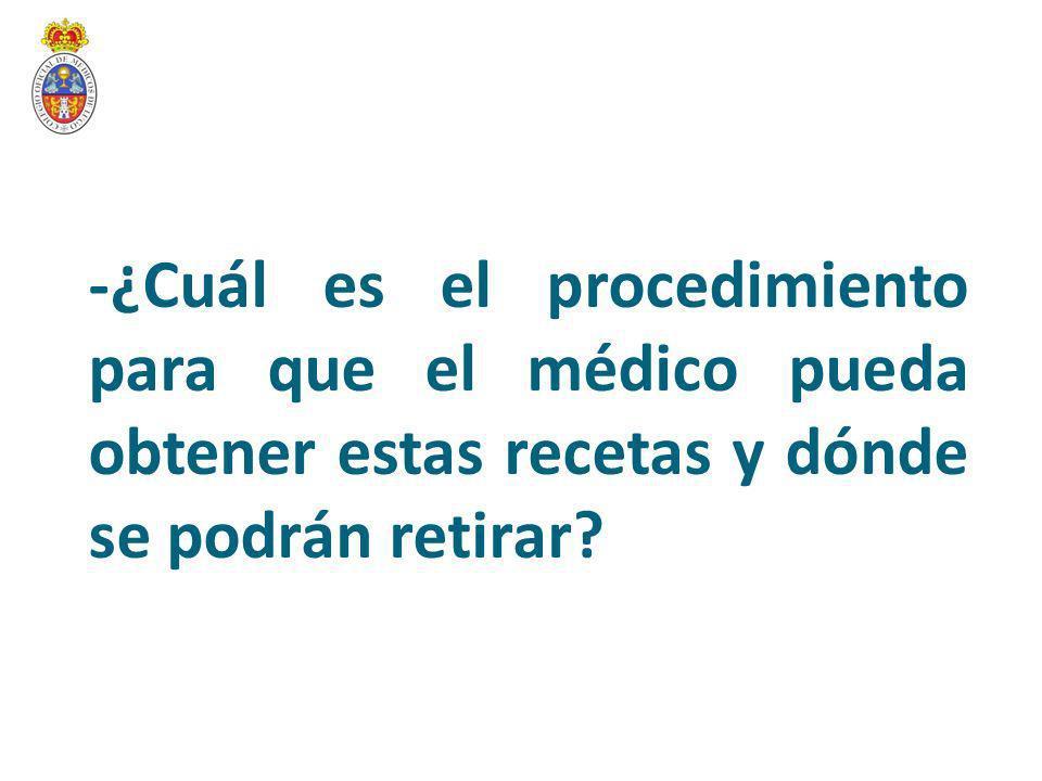 -El proceso para obtener la receta parte de la solicitud de un talonario por parte del médico correspondiente a su Colegio de Médicos Tendrá que cumplimentar un formulario facilitado por la propia entidad colegial.
