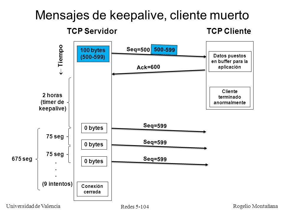 Redes 5-105 Universidad de Valencia Rogelio Montañana Sumario Introducción Protocolo UDP Protocolo TCP –Generalidades –Multiplexación –Conexión/Desconexión –Intercambio de datos y control de flujo –Control de congestión –Redes LFN, factor de escala y opciones de TCP
