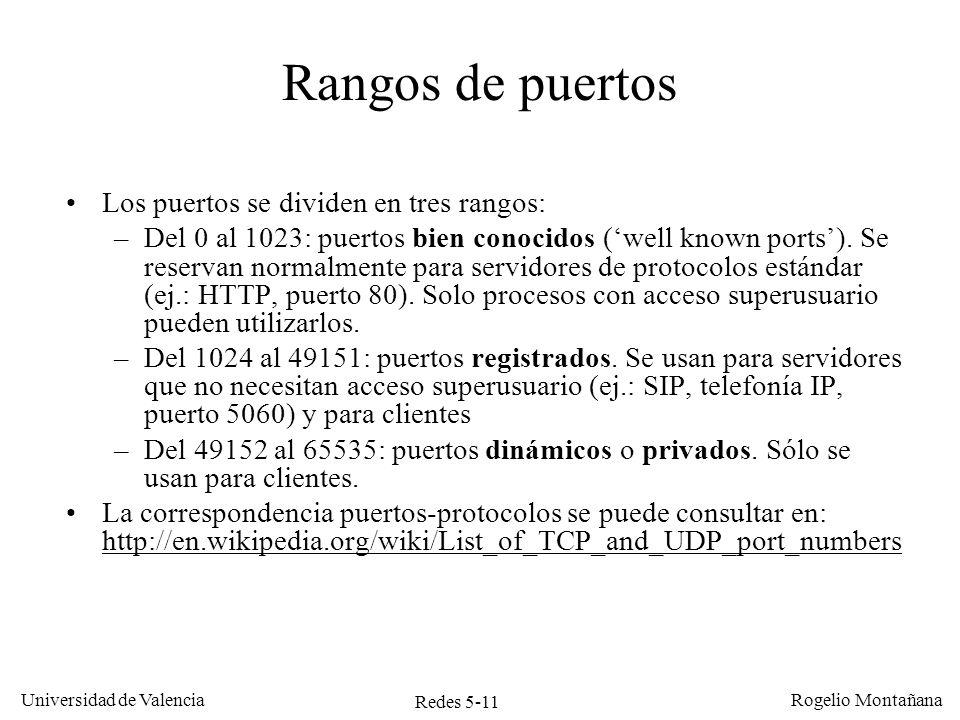 Redes 5-12 Universidad de Valencia Rogelio Montañana Ejemplos de puertos bien conocidos ServicioPuertoTCPUDP DayTime13X FTP21X SSH22X TelNet23X SMTP25X Domain (DNS)53XX BOOTP67X TFTP69X HTTP80X POP3110X NTP123X SNMP161X LDAP389X HTTPS443X SIP5060X