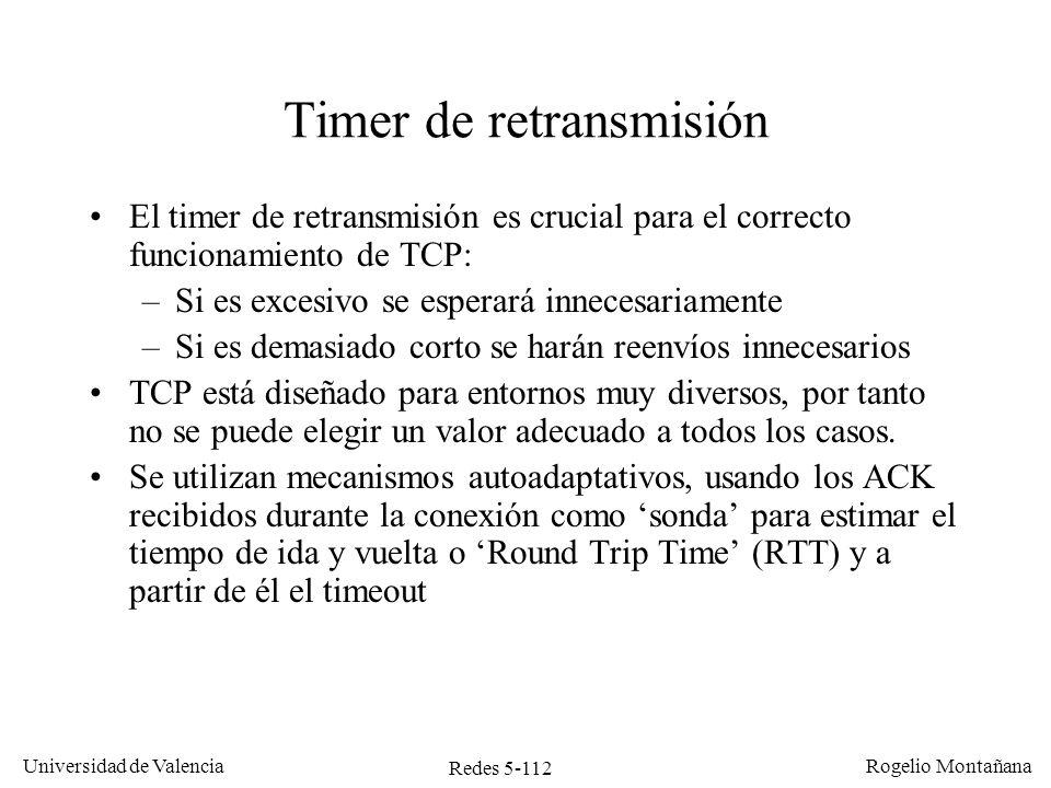 Redes 5-113 Universidad de Valencia Rogelio Montañana Dispersión del timer de retransmisión RTT (mseg) Probabilidad Si los valores de RTT tienen poca dispersión el timeout puede ser solo un poco mayor que el RTT promedio Si los valores de RTT tienen mucha dispersión el timeout tendrá que ser bastante superior al RTT promedio