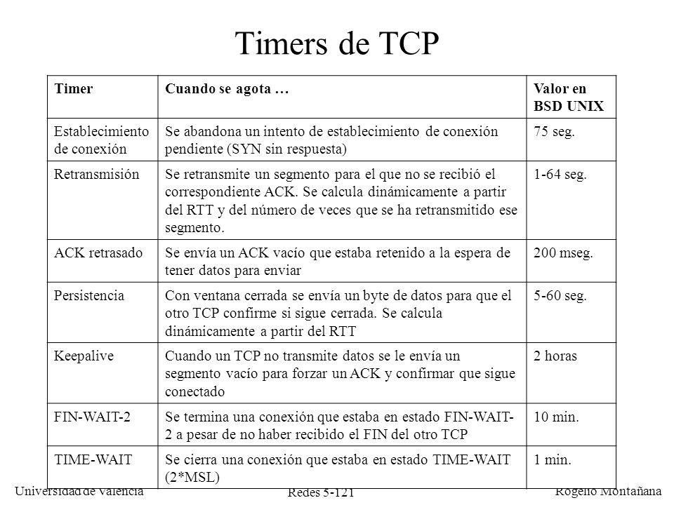 Redes 5-122 Universidad de Valencia Rogelio Montañana Sumario Introducción Protocolo UDP Protocolo TCP –Generalidades –Multiplexación –Conexión/Desconexión –Intercambio de datos y control de flujo –Control de congestión –Redes LFN, factor de escala y opciones de TCP