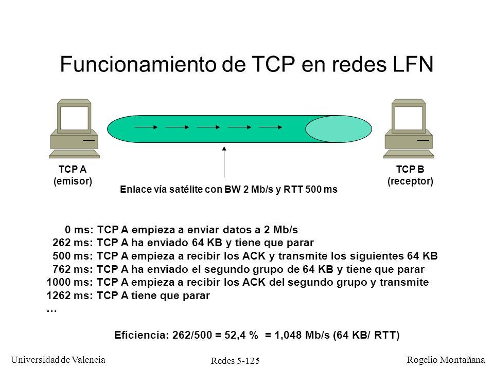 Redes 5-126 Universidad de Valencia Rogelio Montañana Solución al problema de TCP con las redes LFN Es preciso tener ventanas mayores que 64 KB.