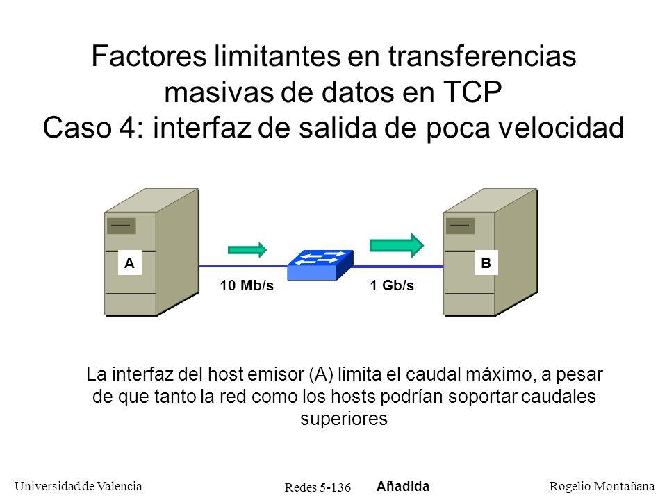 Redes 5-137 Universidad de Valencia Rogelio Montañana Factores limitantes en transferencias masivas de datos en TCP Caso 5: interfaz de llegada de poca velocidad 1 Gb/s El problema de la interfaz de poca velocidad puede darse también en el host receptor, aunque este caso es realmente una variante del caso 3 antes descrito (control de congestión) AB 10 Mb/s Añadida