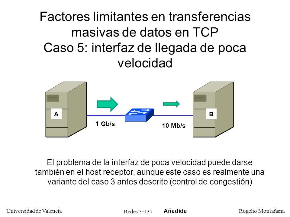 Redes 5-138 Universidad de Valencia Rogelio Montañana Factores limitantes en transferencias masivas de datos en TCP Caso 6: redes LFN sin factor de escala Con un retardo elevado, especialmente si no se utiliza factor de escala, la velocidad de transferencia vendrá limitada por el tamaño de ventana, ya que no se consigue llenar de datos la tubería AB 100 Mb/s RTT 130 mseg 4 Mb/s EuropaAmérica Añadida