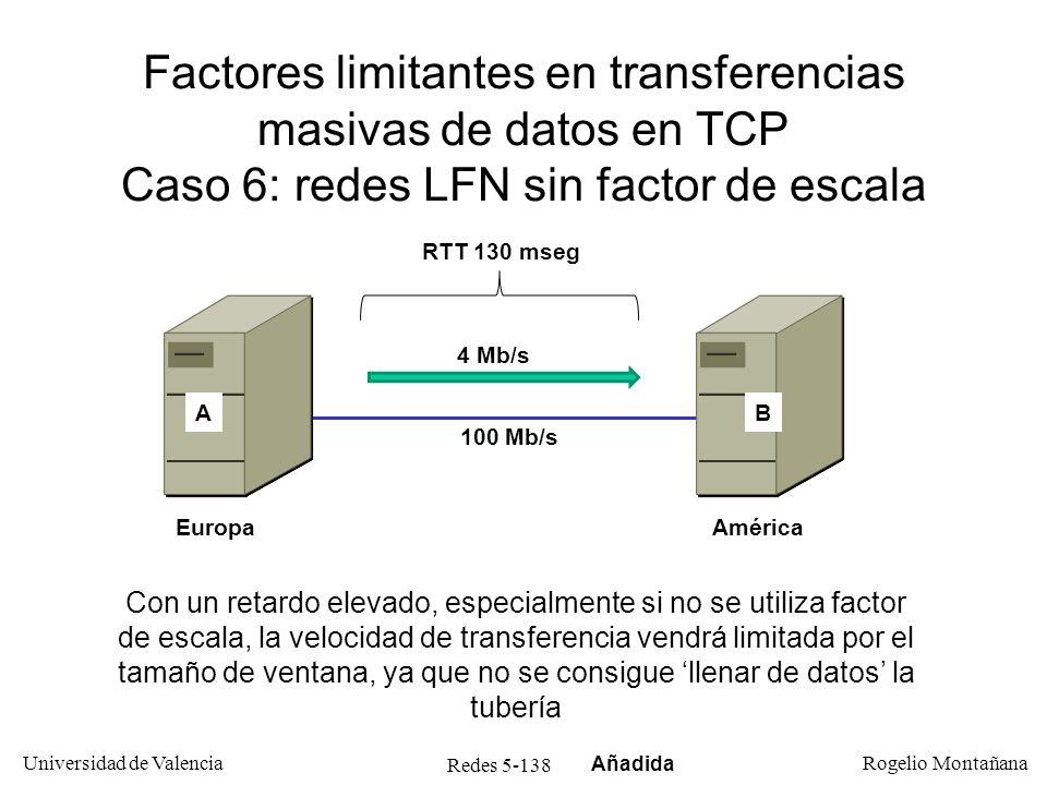 Redes 5-139 Universidad de Valencia Rogelio Montañana FunciónTCPUDP TransporteSí MultiplexaciónSí Detección de erroresSíOpcional (*) Corrección de erroresSíNo Control de flujoSíNo Control de congestiónSíNo Establecimiento/ terminación de conexión SíNo (*) Obligatorio en IPv6 Comparación TCP - UDP