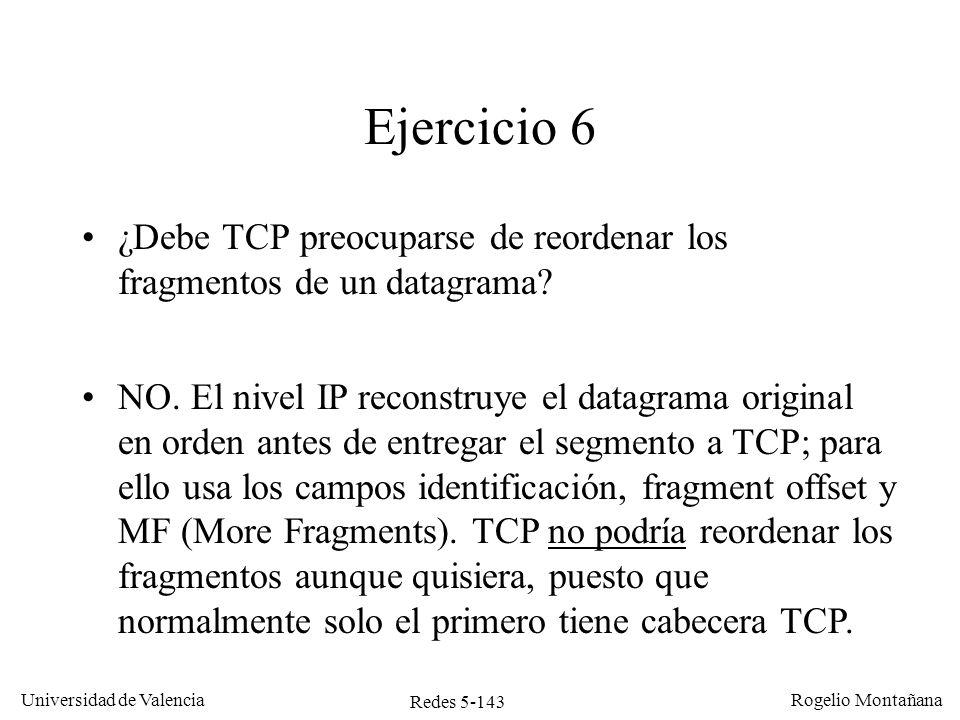 Redes 5-144 Universidad de Valencia Rogelio Montañana Internet Se quiere poner en el router una regla que impida el establecimiento de conexiones TCP desde fuera Red interna Ejercicio 7 Router filtro Función básica de un cortafuegos