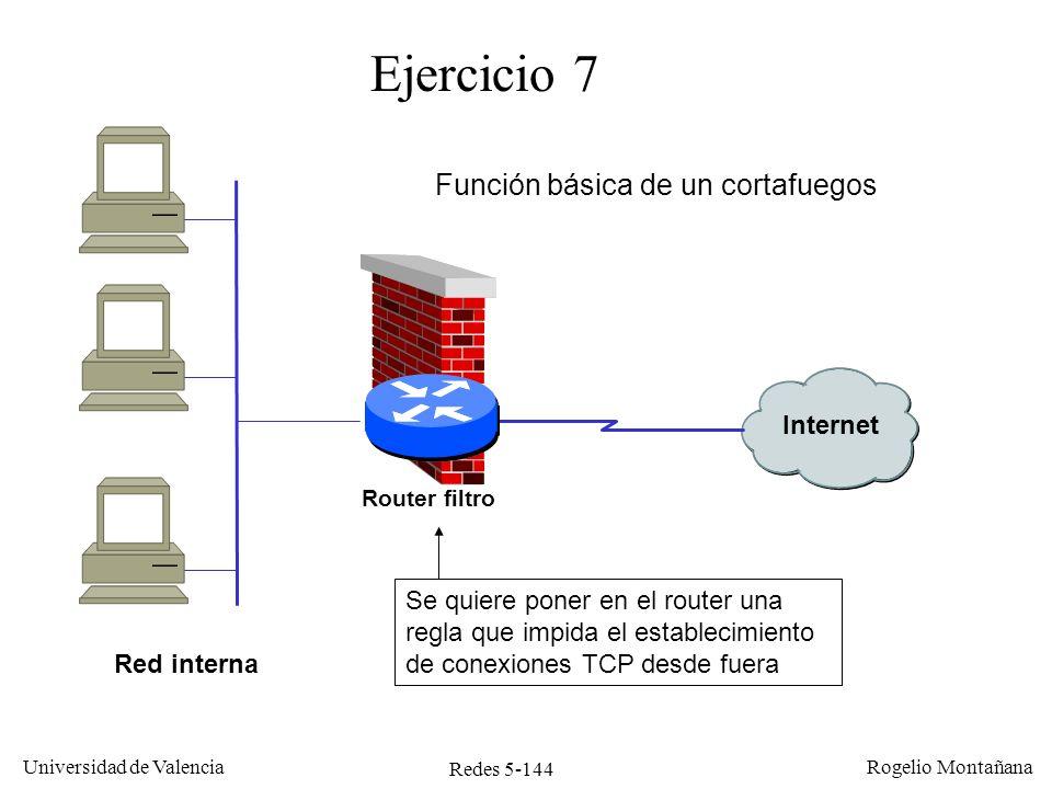 Redes 5-145 Universidad de Valencia Rogelio Montañana Ejercicio 7 Solución: Filtrar los datagramas que entren por la interfaz serie y que cumplan simultáneamente: –Tener el valor 6 en el campo protocolo (TCP) de la cabecera IP –Tener a 1 el bit SYN y a 0 el ACK en la cabecera TCP.