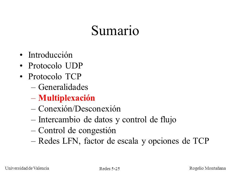 Redes 5-26 Universidad de Valencia Rogelio Montañana Multiplexación Se utiliza el número de puerto (origen o destino) como en UDP.