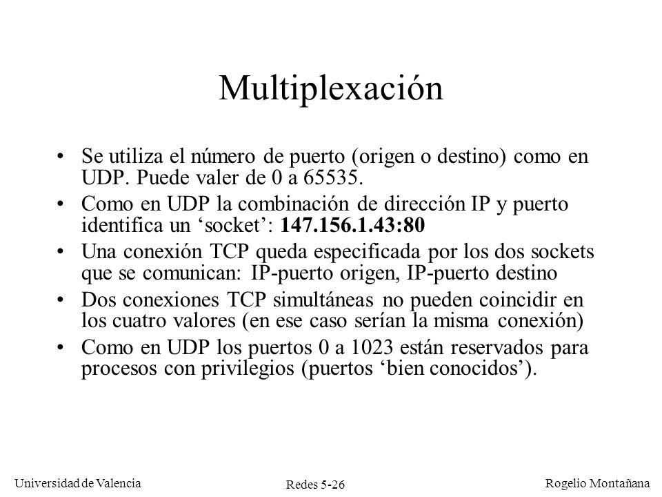 Redes 5-27 Universidad de Valencia Rogelio Montañana Nivel de enlace Nivel de red Nivel de transporte Nivel de aplicación Ethertype (0800)DATAGRAMA IPCRC Prot.