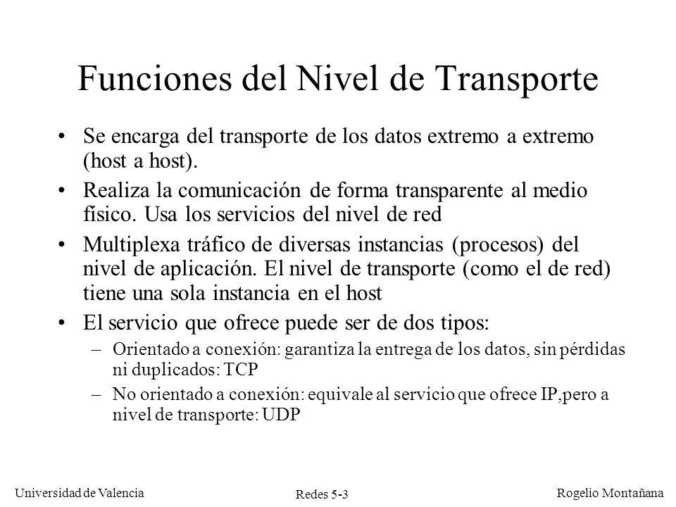 Redes 5-4 Universidad de Valencia Rogelio Montañana Tráfico TCP vs UDP en Internet TCP: 80% UDP: 10% Otros: 10%
