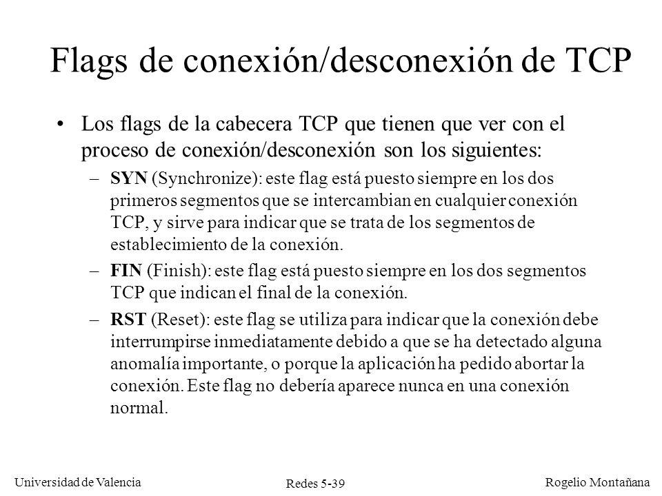 Redes 5-40 Universidad de Valencia Rogelio Montañana TCP Cliente 10.0.0.2:1304 TCP Servidor 10.0.0.1:80 Tiempo Quiero conectar contigo (SYN) Vale, acepto la invitación (SYN) ¡Ya estamos conectados.
