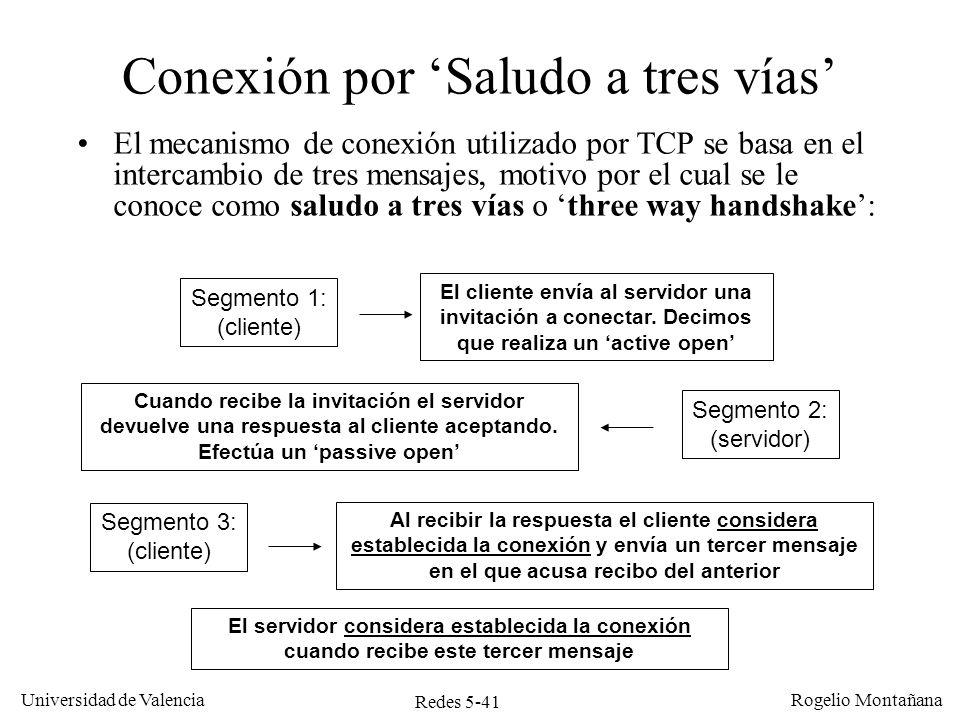 Redes 5-42 Universidad de Valencia Rogelio Montañana Identificadores de conexión (ISN) Cuando va a establecer una conexión TCP elige un identificador para dicha conexión, llamado ISN (Initial Sequence Number).