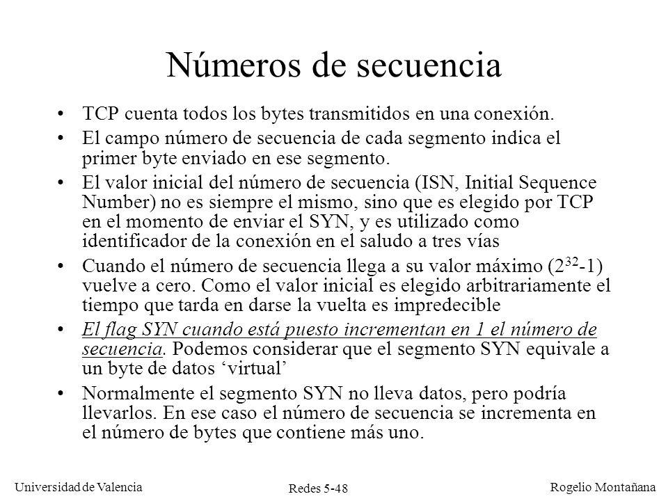 Redes 5-49 Universidad de Valencia Rogelio Montañana Números y flag de ACK El número de ACK indica el número del primer byte se espera recibir en el siguiente segmento del otro TCP.