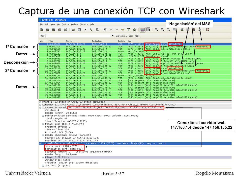 Redes 5-58 Universidad de Valencia Rogelio Montañana Desconexión ordenada simultánea Es posible que dos TCP decidan simultáneamente terminar una conexión, cruzándose los mensajes FIN en el camino En ese caso cada TCP envía al otro un ACK confirmando la recepción del FIN La evolución de estados de TCP es ligeramente distinta del caso normal, apareciendo un nuevo estado (CLOSING).