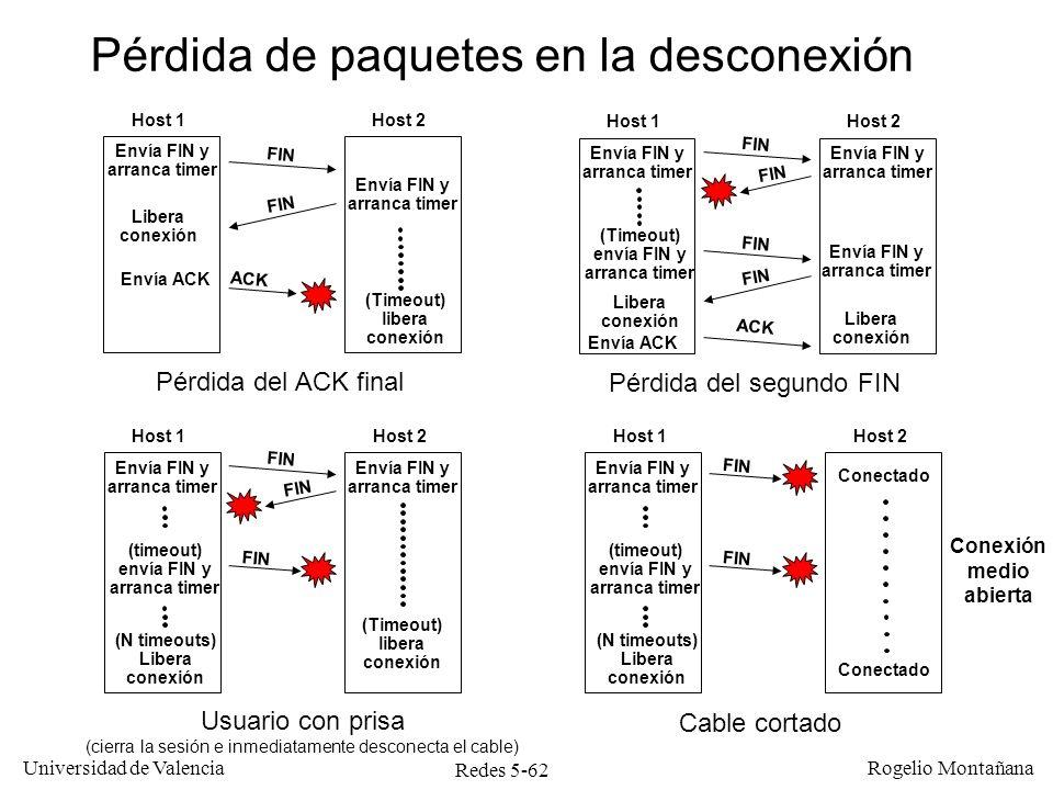 Redes 5-63 Universidad de Valencia Rogelio Montañana Desconexión desordenada o unilateral Ocurre cuando uno de los hosts quiere cerrar inmediatamente la conexión, sin esperar la confirmación del otro.