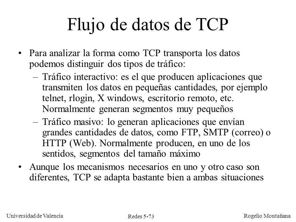 Redes 5-74 Universidad de Valencia Rogelio Montañana Tráfico interactivo en TCP: caso telnet Telnet (Teletype Network) es un protocolo de nivel de aplicación para la emulación de terminal remoto.