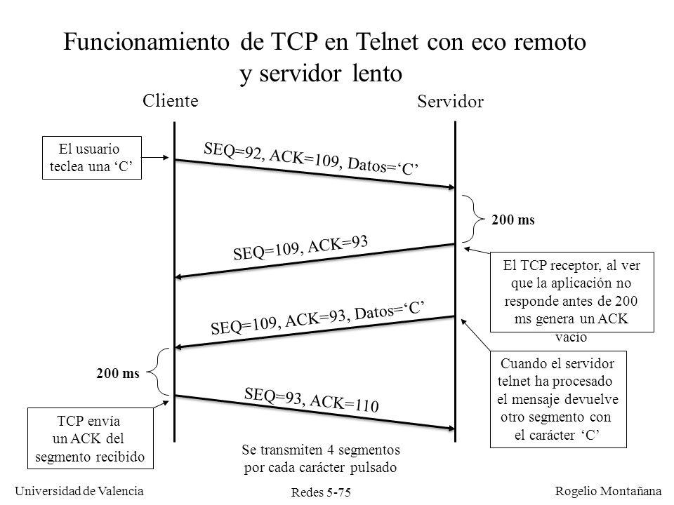Redes 5-76 Universidad de Valencia Rogelio Montañana Timer de ACK retrasado Cuando TCP recibe datos si no tiene datos que enviar de vuelta no envía el ACK inmediatamente.