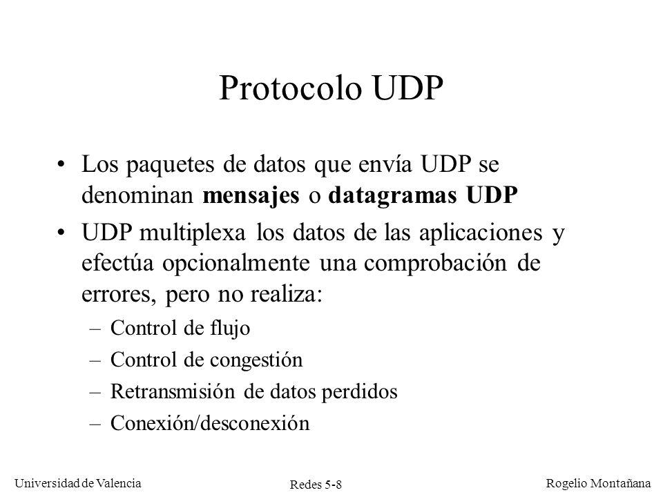 Redes 5-9 Universidad de Valencia Rogelio Montañana 32 bits Dirección IP de origen Dirección IP de destino 017Long.