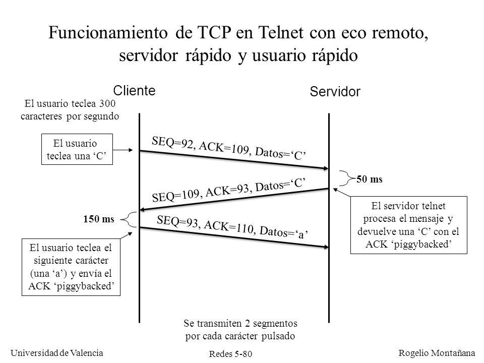 Redes 5-81 Universidad de Valencia Rogelio Montañana Eficiencia en TCP: algoritmo de Nagle Los ACK retrasados mejoran el rendimiento de TCP, pero aun así la eficiencia es muy baja en flujos interactivos.