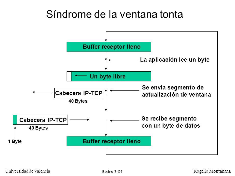 Redes 5-85 Universidad de Valencia Rogelio Montañana Solución de Clark (RFC 813) Resuelve el problema del síndrome de la ventana tonta El TCP receptor solo debe notificar una nueva ventana cuando tenga una cantidad razonable de espacio libre.