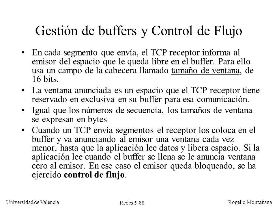 Redes 5-89 Universidad de Valencia Rogelio Montañana Buffer TCP Emisor (4 KB) Buffer TCP Receptor (4 KB) Gestión de buffers y Control de flujo Ventana cerrada (emisor bloqueado) Aplicación escribe 2 KB Seq=0 Seq=2000 Seq=4000 Ack=2000, Win=2000 Ack=4000, Win=0 Ack=4000, Win=2000 Aplicación lee 2 KB 2 1 4 3 Aplicación escribe 3 KB 5 2 1 write 2 KB write 3 KB read 2 KB 5 5 5 5 2 1 4 3 2 1 4 3 5 4 3 Ack=5000, Win=1000 5 5 2 1 5 4 3 4 3 SYN, ACK, MSS=500 SYN, MSS= 2000 ACK=0, Win=4000 5 4 3