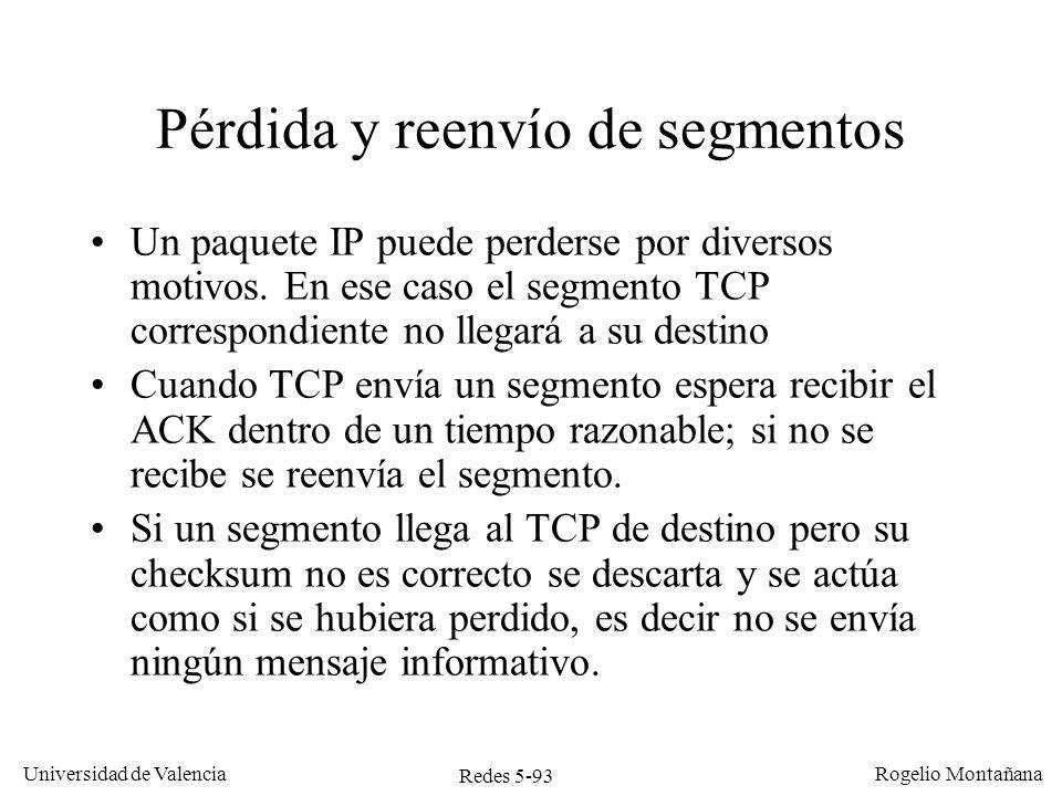 Redes 5-94 Universidad de Valencia Rogelio Montañana Host 1Host 2 Ack=0, Win=4000 Pérdida de un segmento de datos Seq=0 Ack=1000, Win=3000 Seq=1000 Seq=2000 Seq=3000 Ack=4000, Win=2000 Seq=4000 Ack=5000 Win=3000 Ack=2000 Win=2000 Seq=2000 Seq=3000 Ignorado Timeout Ack=4000, Win=0 4000-4999 3000-3999 2000-2999 3000-3999 2000-2999 1000-1999 0-999 Aplicación escribe 1 KB Aplicación escribe 4 KB Bloqueado Timeout Aplicación lee 2 KB 4 KB libres 3 KB libres 2 KB libres 1 KB libre Buffer lleno 2 KB libres 1 KB libre 3 KB libre
