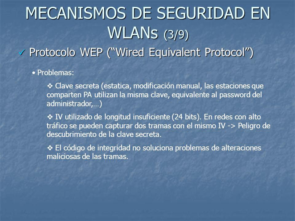 MECANISMOS DE SEGURIDAD EN WLANs (4/9) Soluciones a vulnerabilidades de WEP –> WPA (WiFi Protected Acces) Soluciones a vulnerabilidades de WEP –> WPA (WiFi Protected Acces) Características y diferencias respecto a WEP Propuesto por los miembros de la Wi-Fi Alliance en colaboración con la IEEE.