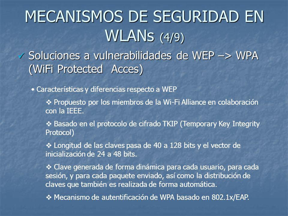 MECANISMOS DE SEGURIDAD EN WLANs (5/9) Soluciones a vulnerabilidades de WEP –> WPA (WiFi Protected Acces) Soluciones a vulnerabilidades de WEP –> WPA (WiFi Protected Acces) Funcionamiento TKIP: Basado en el algoritmo Michael para garantizar la integridad.