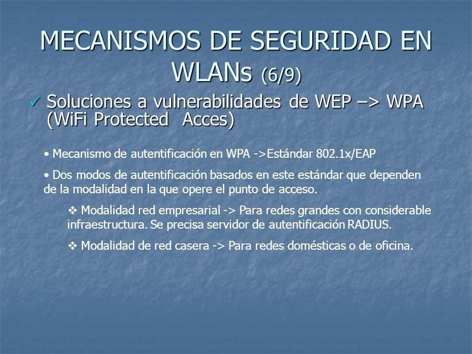MECANISMOS DE SEGURIDAD EN WLANs (7/9) Soluciones a vulnerabilidades de WEP –> WPA (WiFi Protected Acces) Soluciones a vulnerabilidades de WEP –> WPA (WiFi Protected Acces) Modalidad de red empresarial Funcionamiento: Existencia de tres componentes: Solicitante, Autenticador y Servidor de autenticación (RADIUS) PA crea un puerto lógico para el solicitante.
