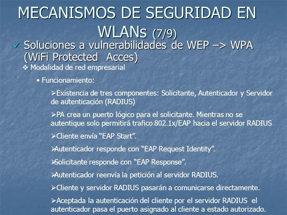 MECANISMOS DE SEGURIDAD EN WLANs (8/9) Soluciones a vulnerabilidades de WEP –> WPA (WiFi Protected Acces) Soluciones a vulnerabilidades de WEP –> WPA (WiFi Protected Acces) Modalidad de red empresarial