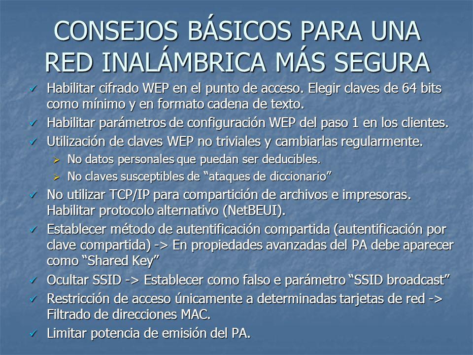 BIBLIOGRAFÍA Y FUENTES CONSULTADAS Wireless Network Security (http://csrc.nist.gov/publications/nistpubs/800-48/NIST_SP_800-48.pdf) Wireless Network Security (http://csrc.nist.gov/publications/nistpubs/800-48/NIST_SP_800-48.pdf)http://csrc.nist.gov/publications/nistpubs/800-48/NIST_SP_800-48.pdf PC World Seguridad en redes inalámbricas José Manuel Alarcón Aguín (jalarcon@pcw.idg.es)jalarcon@pcw.idg.es VIRUSPROT S.L.