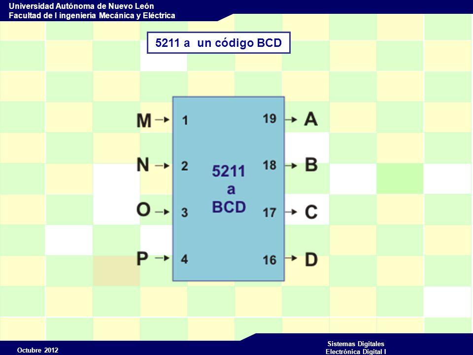 Octubre 2012 Sistemas Digitales Electrónica Digital I Universidad Autónoma de Nuevo León Facultad de I ingeniería Mecánica y Eléctrica m 5211BCD M N O P ABCD N(10) 0 0 0 1 0 0 0 1 2 0 0 1 0 3 0 0 1 1 4 0 1 0 0 5 0 1 6 0 1 1 0 7 0 1 1 1 8 1 0 0 0 9 1 0 0 1 10 11 1 0 1 1 12 1 1 0 0 13 1 1 0 1 14 1 1 1 0 15 1 1 5211 a un código BCD Tabla de verdad Combinaciones no usadas X X X X Equivalente en BCD 0 0 0 0 0 0 0 0 1 1 0 0 1 0 2 0 0 1 1 3 0 1 0 0 4 0 1 0 1 5 0 1 1 0 6 0 1 1 1 7 1 0 0 0 8 1 0 0 1 9