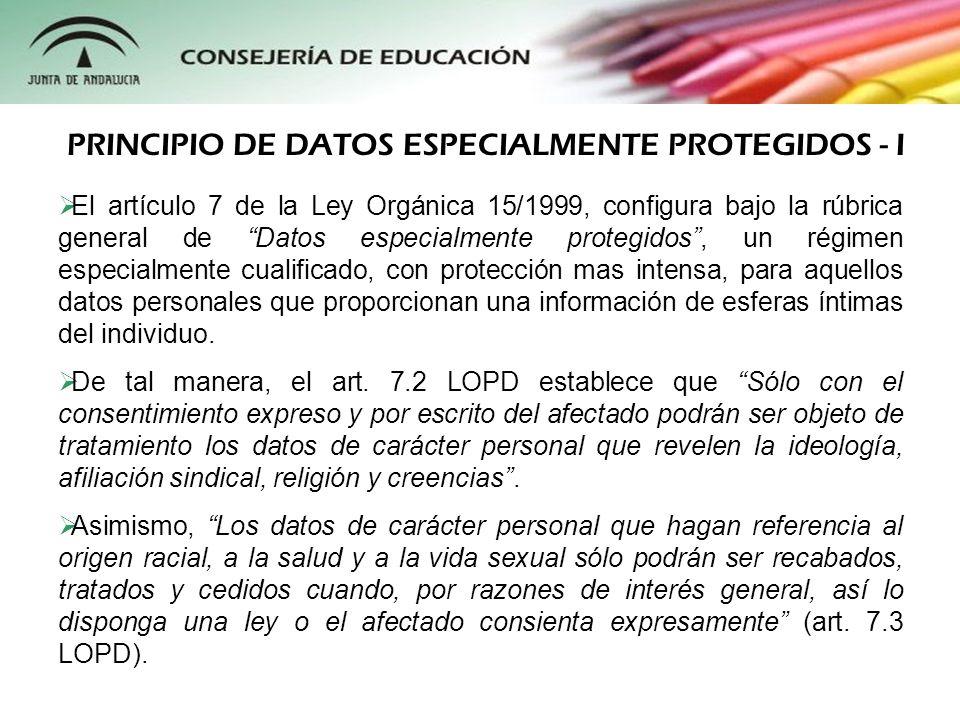 Algunos ejemplos habituales de datos especialmente protegidos que pueden ser tratados en los centros de enseñanza son los siguientes: Los datos psicológicos contenidos en los informes psicopedagógicos, test de inteligencia y conducta, etc.