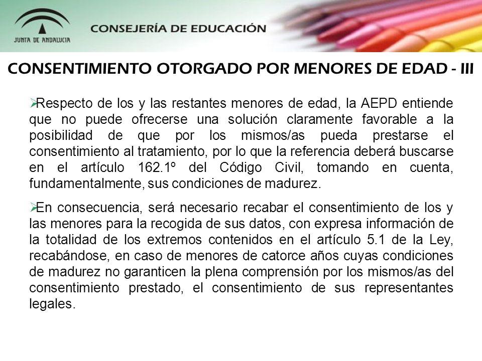 El reciente Real Decreto 1720/2007 incorpora, de manera definitiva, el criterio interpretativo de la Agencia Española de Protección de Datos plasmado en su Memoria 2000, regulando, asimismo, otros aspectos de importancia en referencia a la captación de datos de menores: Artículo 13.