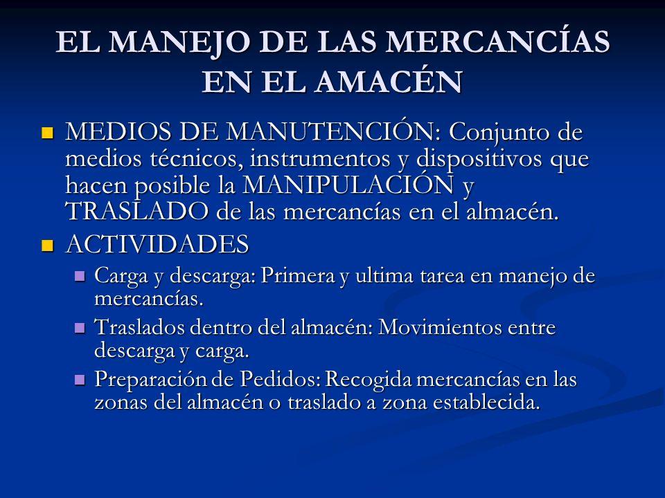 VARIEDAD DE MEDIOS DE MANUTENCIÓN DEPENDERÁ: DEPENDERÁ: TAMAÑO DEL ALMACÉN.