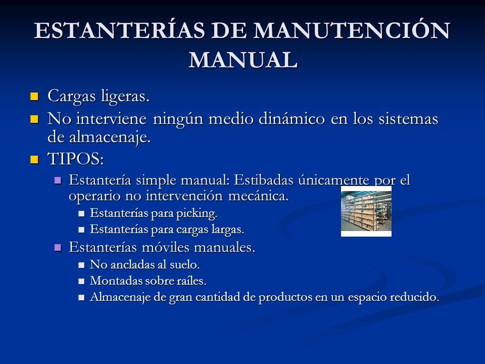 ESTANTERIAS DE MANUTENCIÓN MECÁNICA Imprescindible la utilización de algún medio mecánico para la manipulación de la carga.