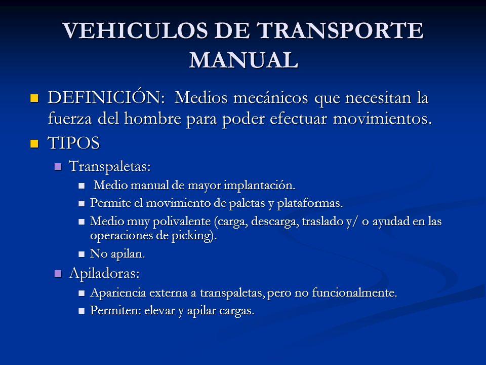 TRANSPALETAS MANUALES MANUALES Fuerza en el desplazamiento: Operario.