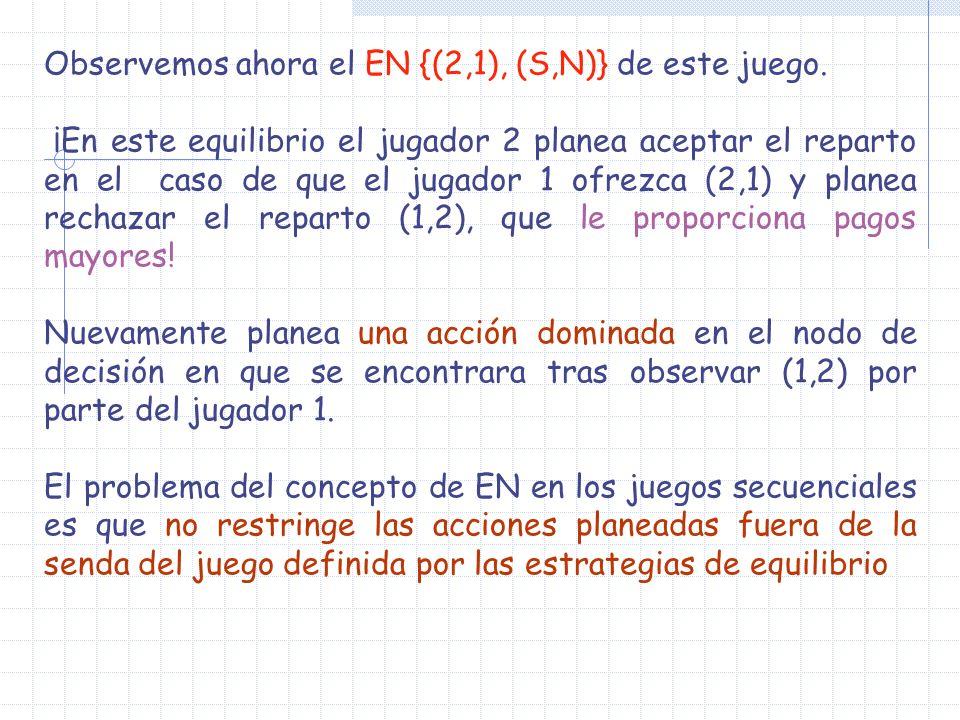 1 2 1212 0000 2121 N (2, 1) 2 (1,2) S S N 0000 Senda de equilibrio Fuera de la senda de equilibrio Equilibrio ((2,1), ((S,N)