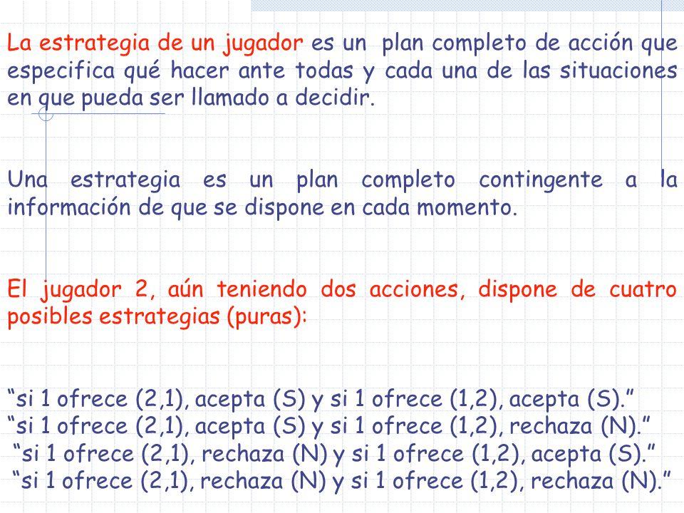 si 1 ofrece (2,1), acepta (S) y si 1 ofrece (1,2), acepta (S).