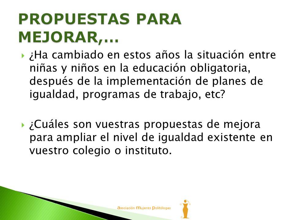 …La coeducación, en el momento actual plantea como objetivo la desaparición de los mecanismos discriminatorios, no sólo en la estructura formal de la escuela, sino también en la ideología y en la práctica educativa.