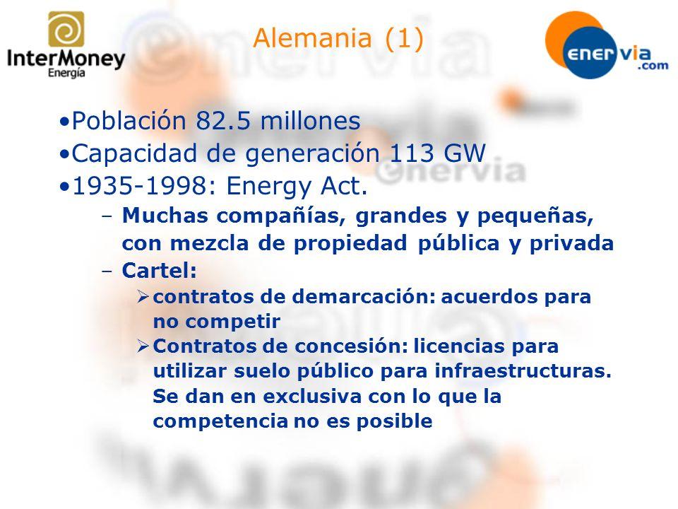 Alemania (2) 1998 New Electricity Act –No se creó un regulador independiente –El mercado se autorregula por medio de acuerdos entre las partes –Todos los consumidores son elegibles –Accesos a la red negociados (NTPA) –6 Operadores de la red de alta –60 eléctricas regionales (2001) –900 eléctricas municipales