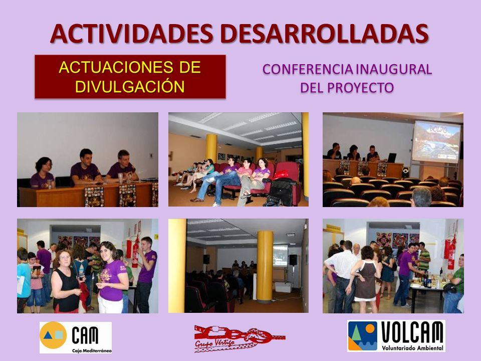 FECHA: semana de 4 al 8 de octubre de 2010 LUGAR: sala de exposiciones del Centro Municipal El Carmen ASISTENTES: más de 50 personas al acto inaugural y alrededor de unos 550 asistentes, durante toda la semana Se mostraron fotos de actividades realizadas con el proyecto Volcam y otras realizadas por el Grupo Vértigo.