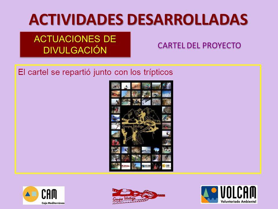 ACTIVIDADES DESARROLLADAS Se elaboró un díptico para anunciar la conferencia inaugural del proyecto, que se repartió en diversos puntos importantes para el colectivo montañero de la ciudad.